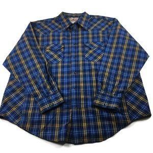 Wrangler Western Shirt Black Snap closure sz XXL